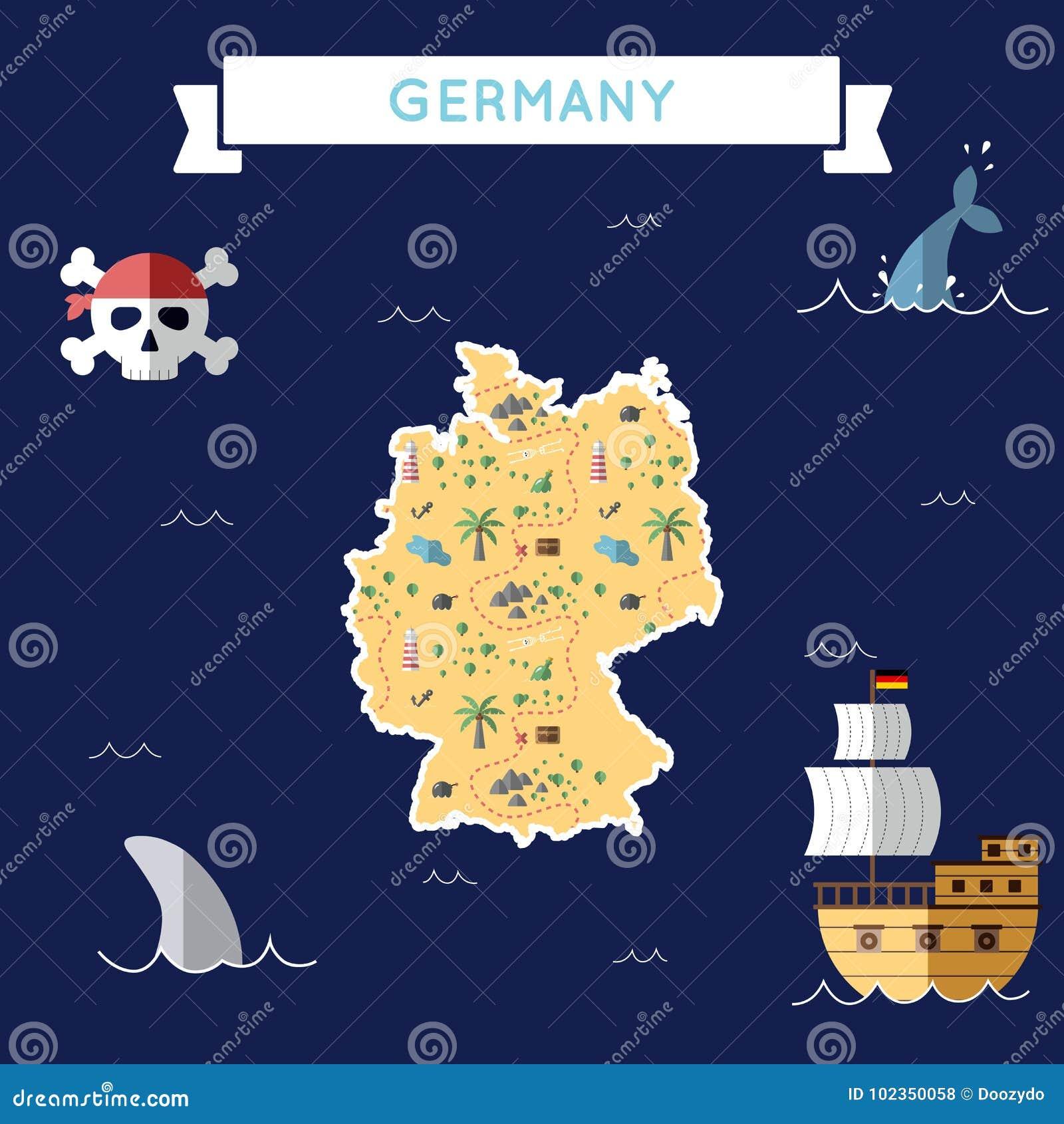 Cartoon Map Of Germany.Flat Treasure Map Of Germany Stock Vector Illustration Of Bomb