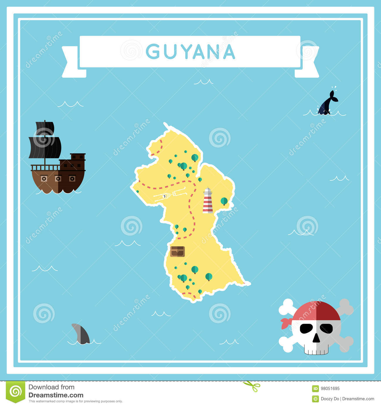 Flat Treasure Map Of Guyana. Stock Vector - Illustration of flat ...