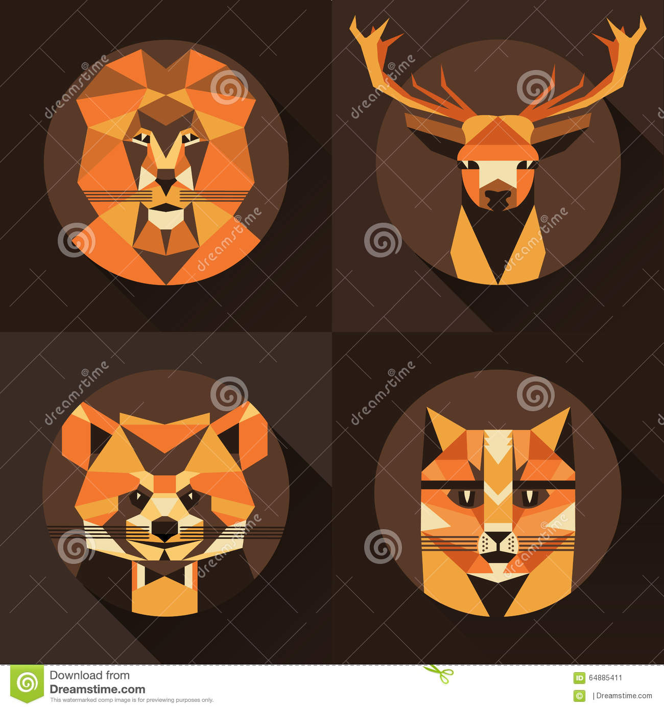 Avatar 2 Animals: Flat Trendy Low Polygon Style Animal Avatar Icon Set