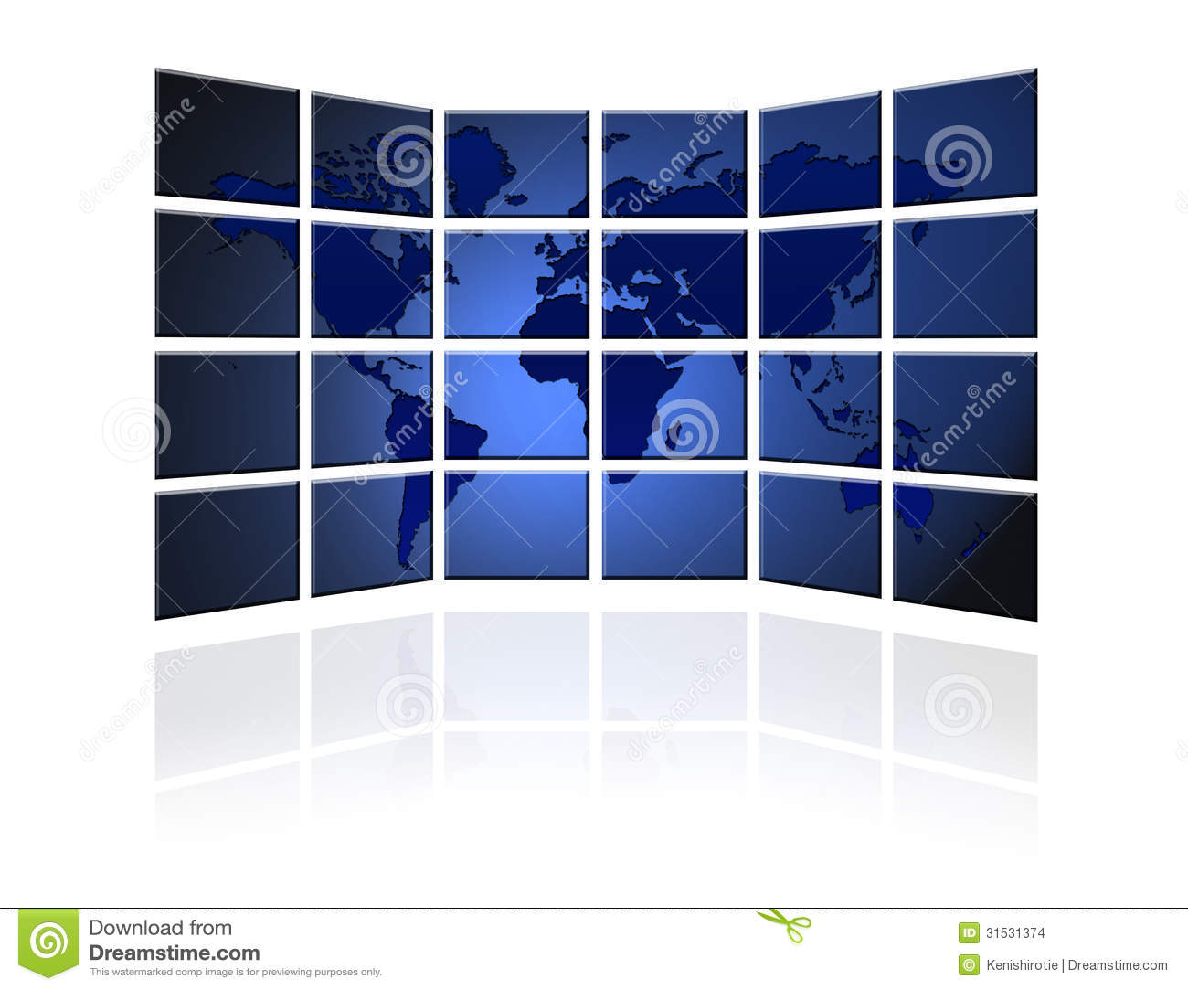 Flat Tv Screen With World Map Stock Illustration Image