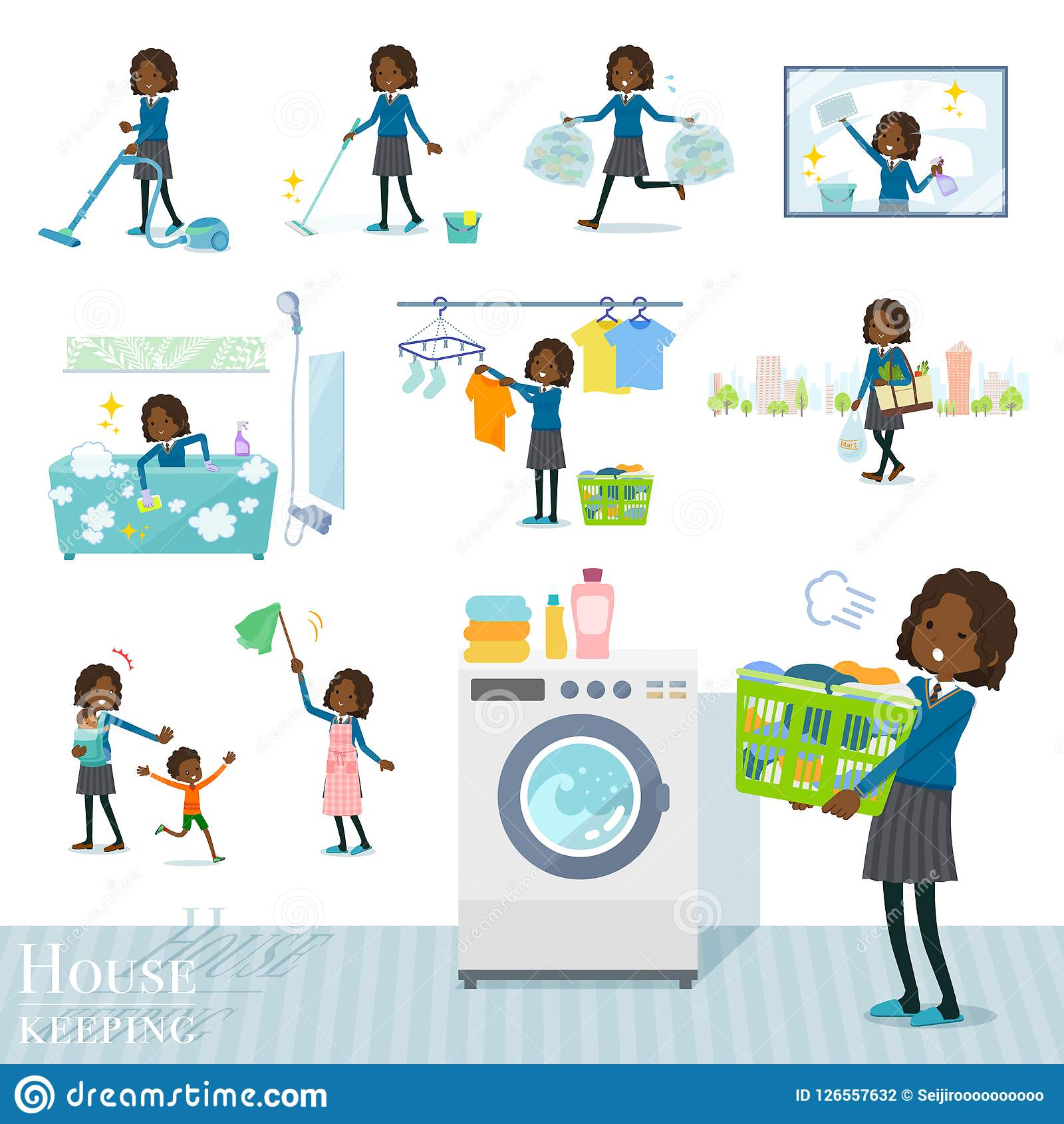 Flat type School girl Black_housekeeping. A set of school girl related to housekeeping such as cleaning and laundry.There are various actions such as child Stock Illustration