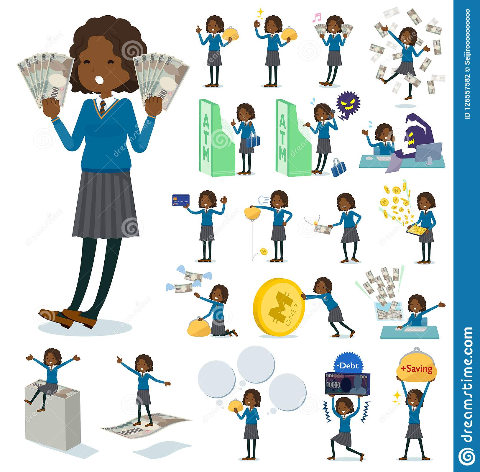 Flat type School girl Black_money. A set of school girl with concerning money and economy.There are also actions on success and failure.It`s vector art so it`s Vector Illustration