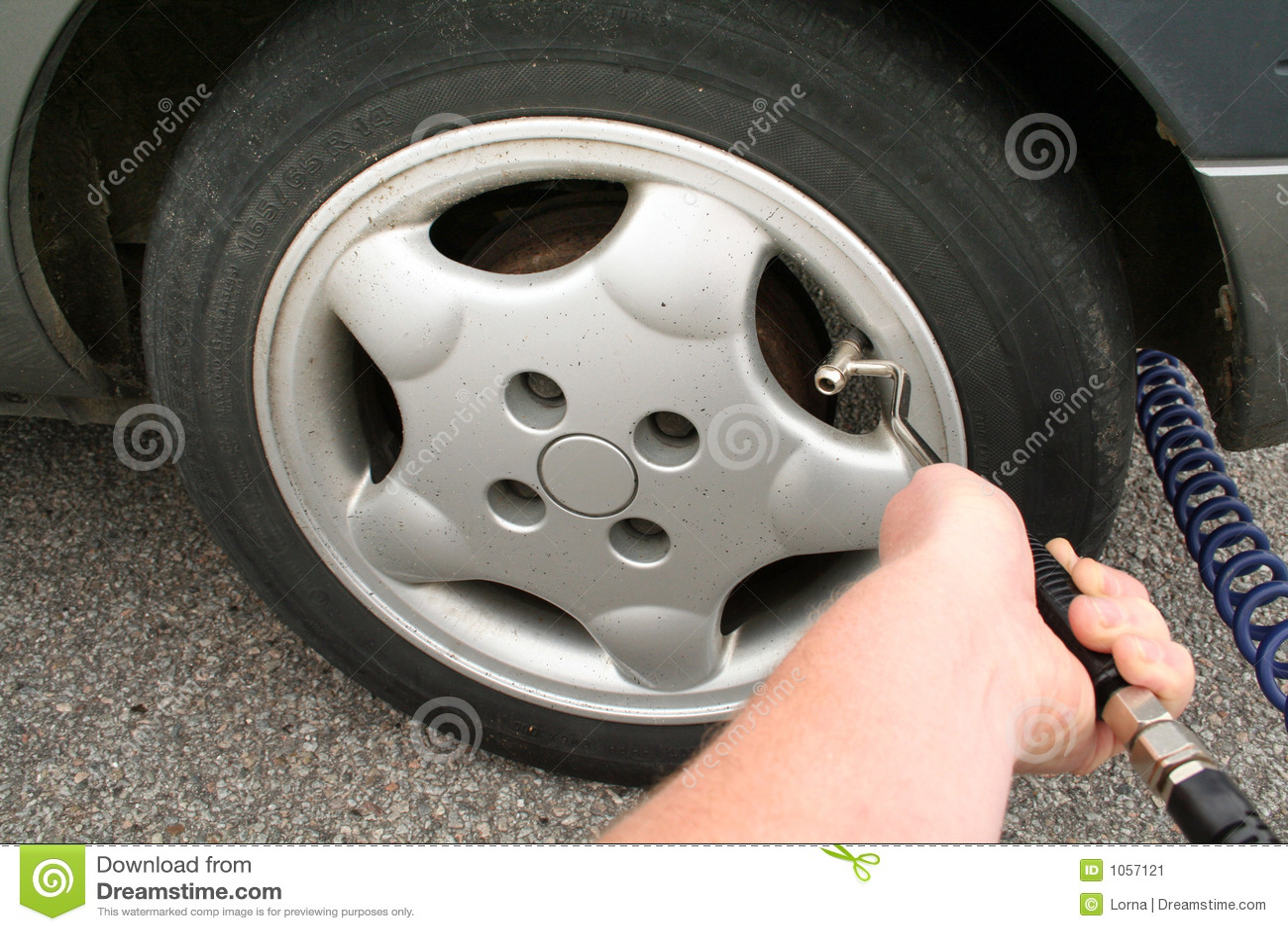 flat tyre pump air stock image image