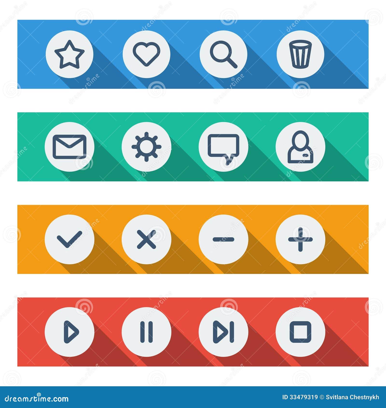 Flat UI Design Elements - Set Of Basic Web Icons Royalty Free ...