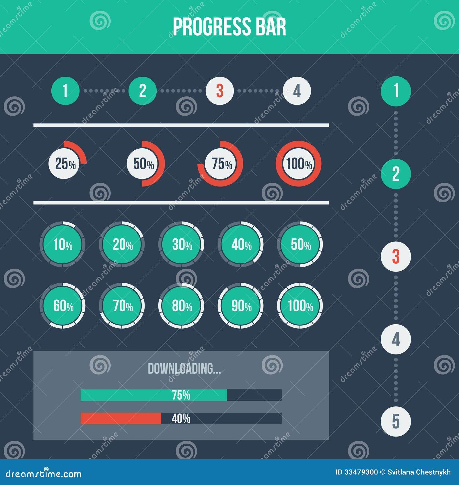 Flat UI design elements set - different progress bars. Vector ...