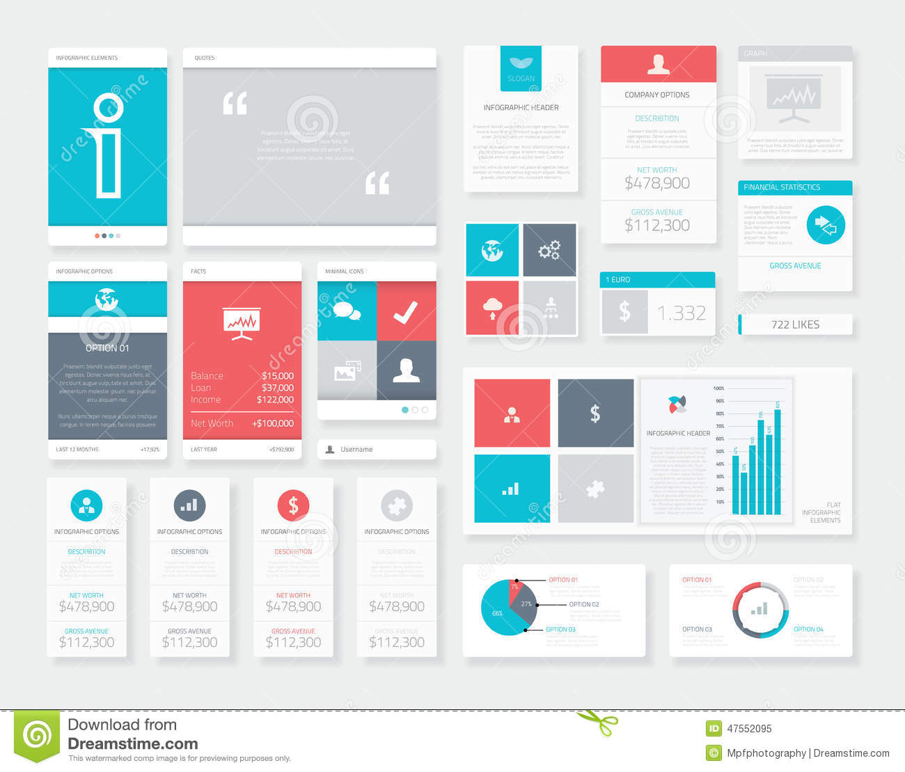 Flat Ui Infographics Vector Kit. Mobile Data Visualization ...