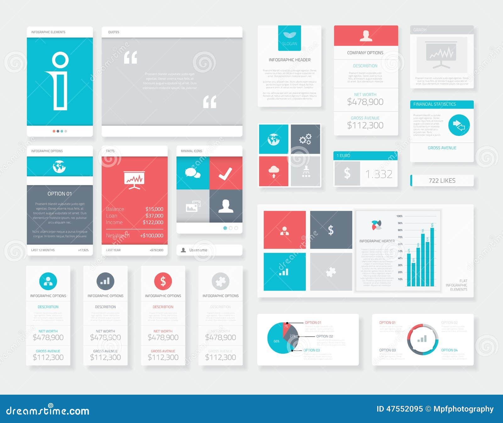 Flat Ui Infographics Vector Kit. Mobile Data Visualization Pack ...