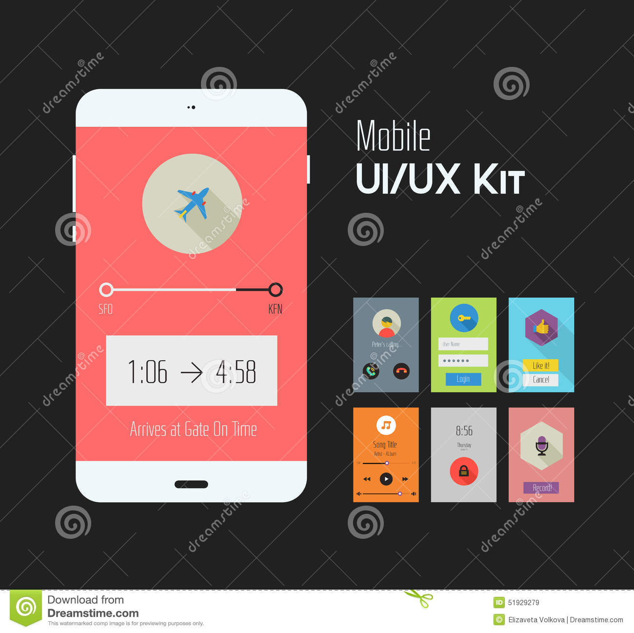Flat Ui Or UX Mobile Apps Kit Stock Image - Image of login ...