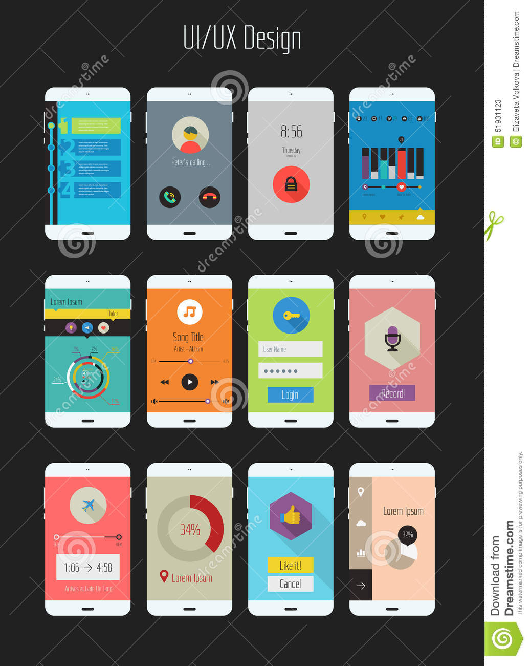 Flat Ui Or Ux Mobile Apps Kit Stock Vector Image 51931123