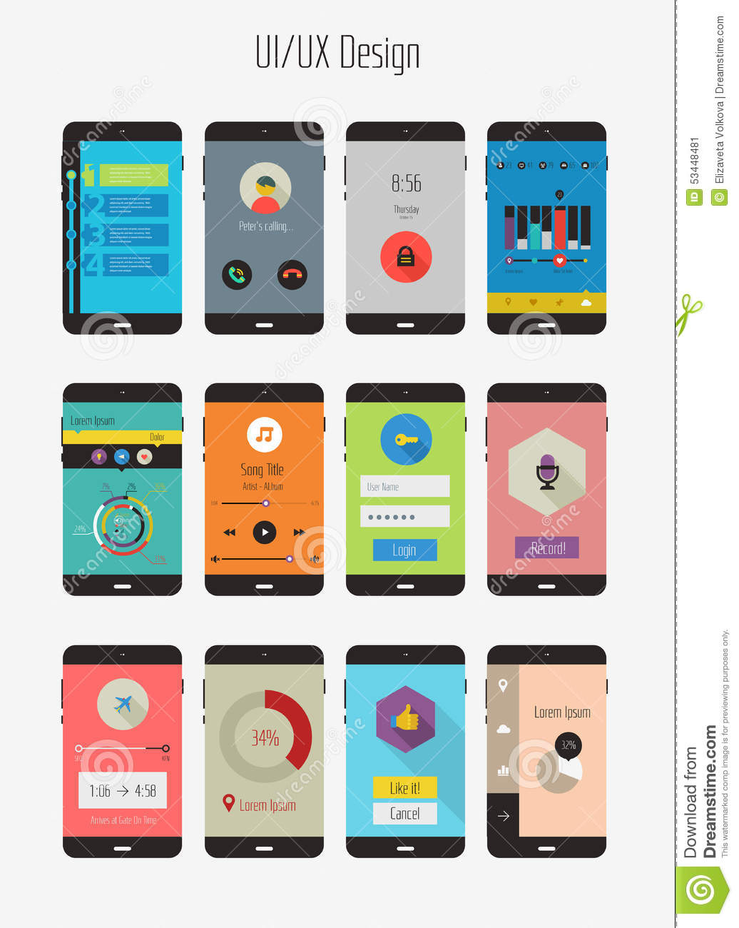 Flat Ui Or Ux Mobile Apps Kit Stock Image Image Of Media