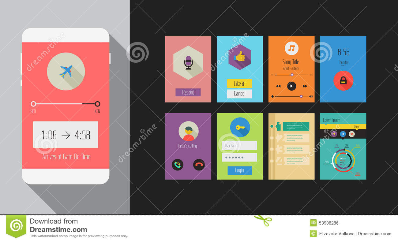 mobile app privacy policy template - flat ui or ux mobile apps kit stock vector illustration