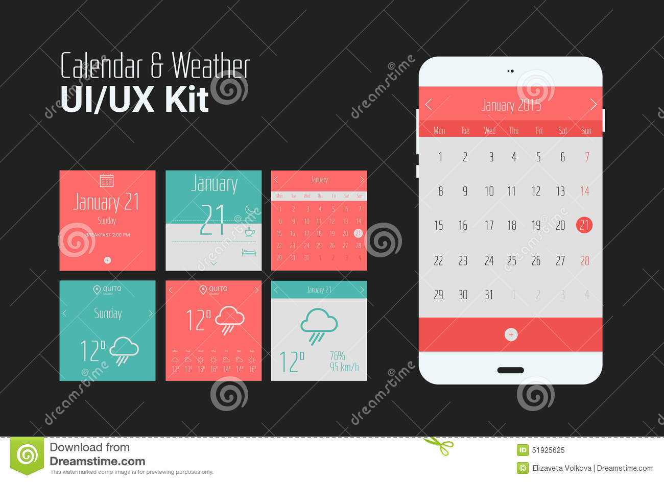Calendar Design For App : Flat ui or ux mobile calendar and weather apps kit stock
