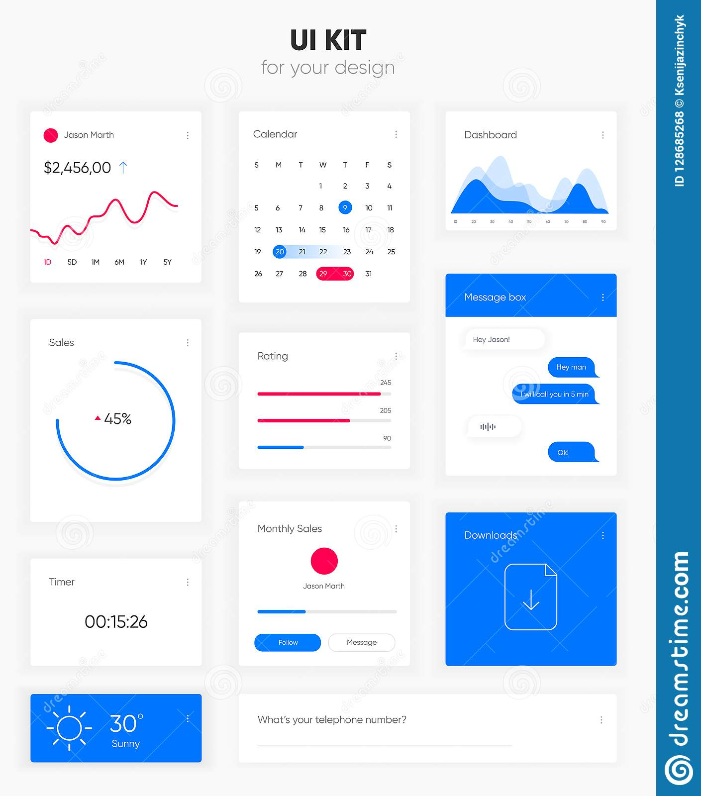 Flat User Interface Vector Set For Website Development And Mobile