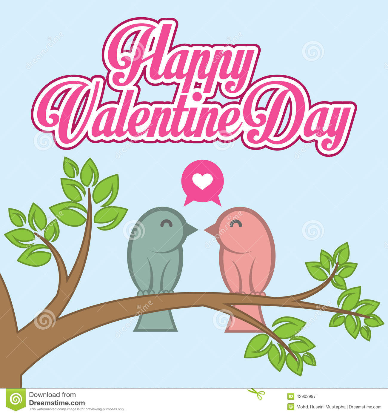 Flat valentine day vector card with birds in love on tree