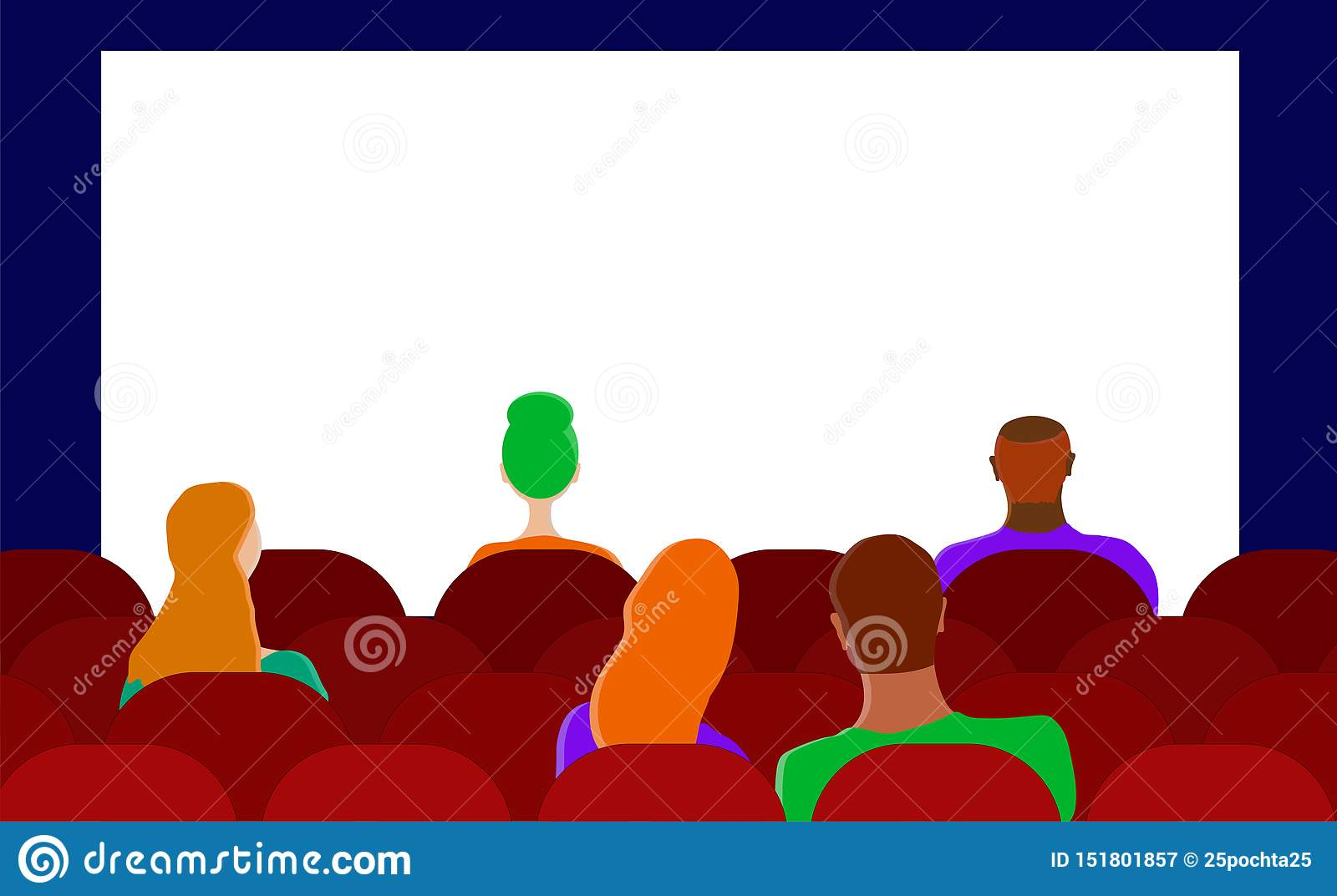 Flat vector. The audience in the cinema. Men and women.