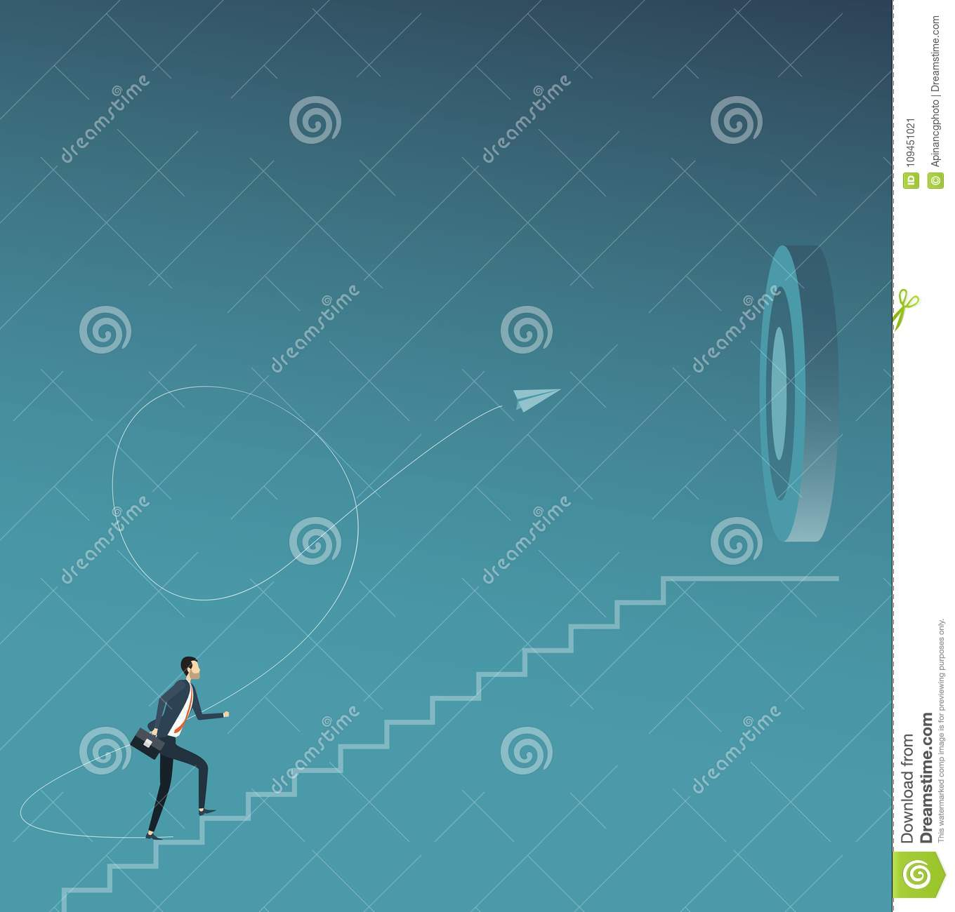 Flat vector businessman focus and walking to business goal target concept