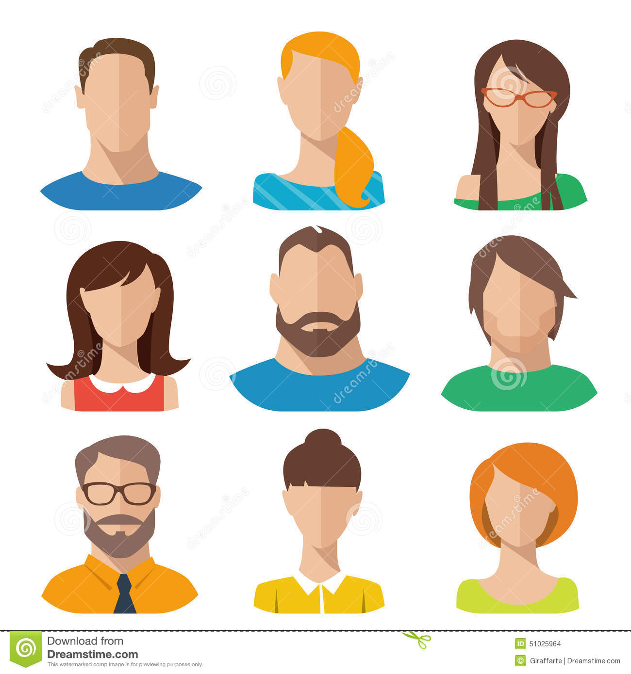 Flat Vector Characters Stock Vector. Illustration Of Hair