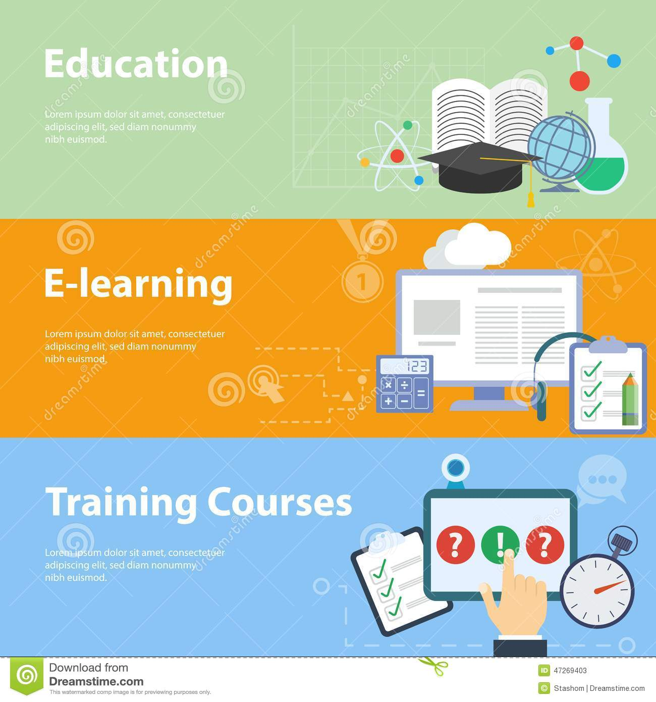 Flat Vector Concepts For Education Stock Vector Image 47269403