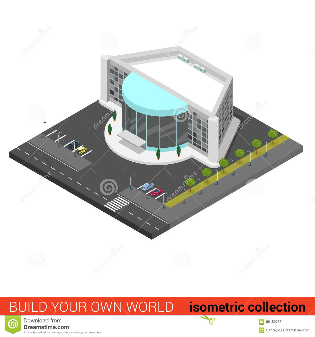 Flat vector 3d cinema entertainment mall night club for Concept building