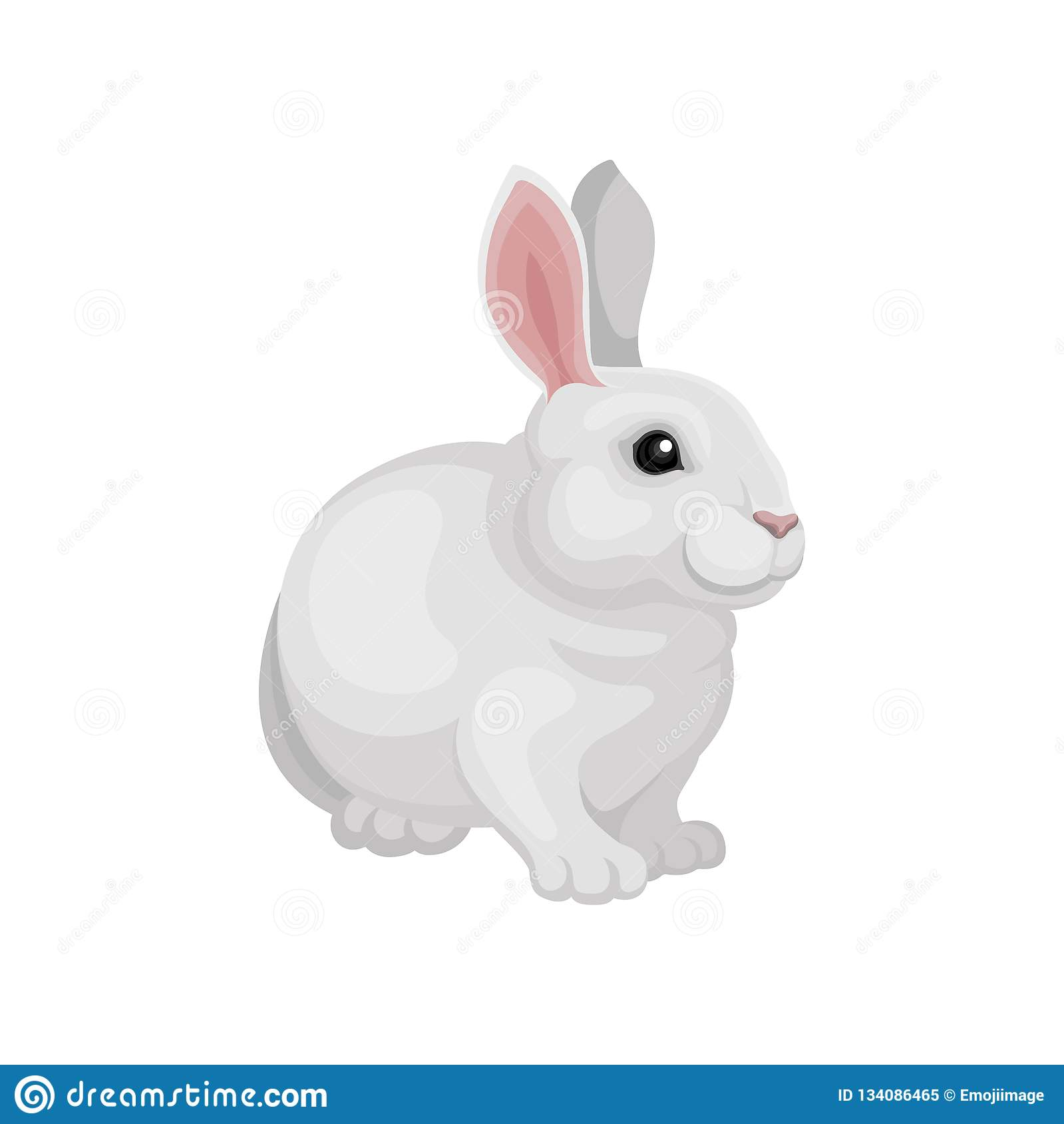 Flat vector design of adorable rabbit. Cute mammal animal. White bunny with long pink ears. Home pet