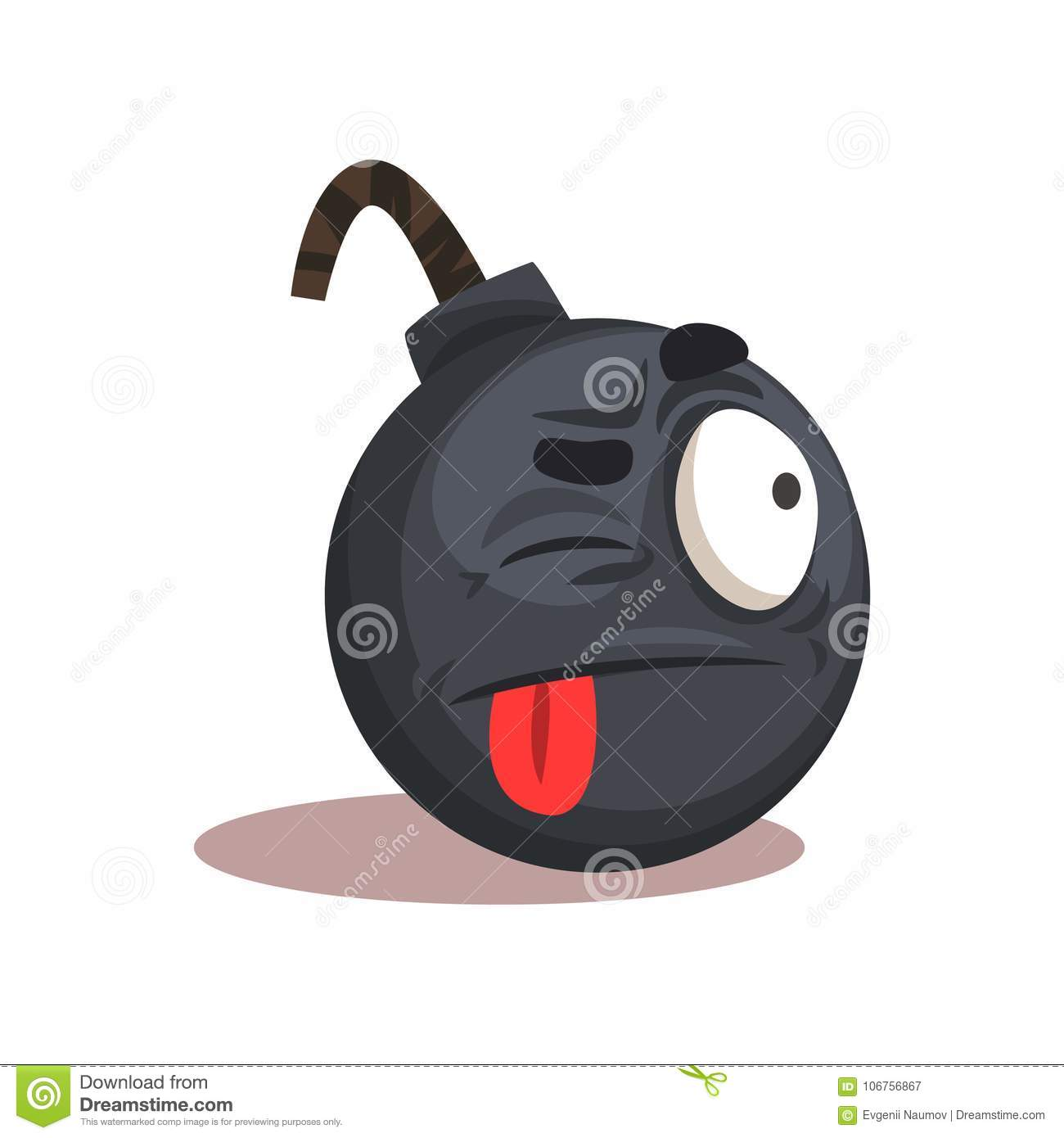 Flat Vector Design Of Bomb Emoji  Face With Winking Eye And Red
