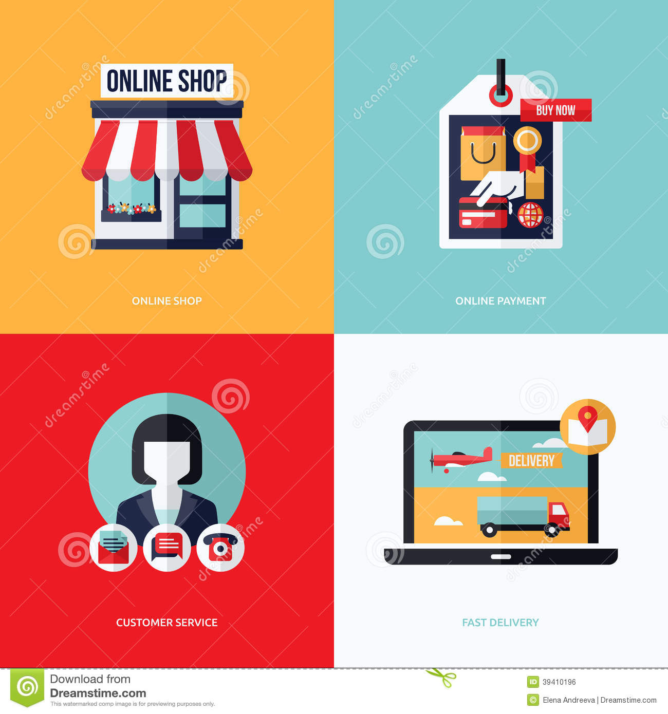 Flat Vector Design With E-commerce And Online Shopping Icons Stock ...