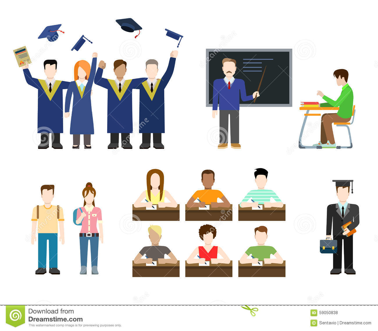 Modern Classroom Clipart : Flat vector education students teacher graduate