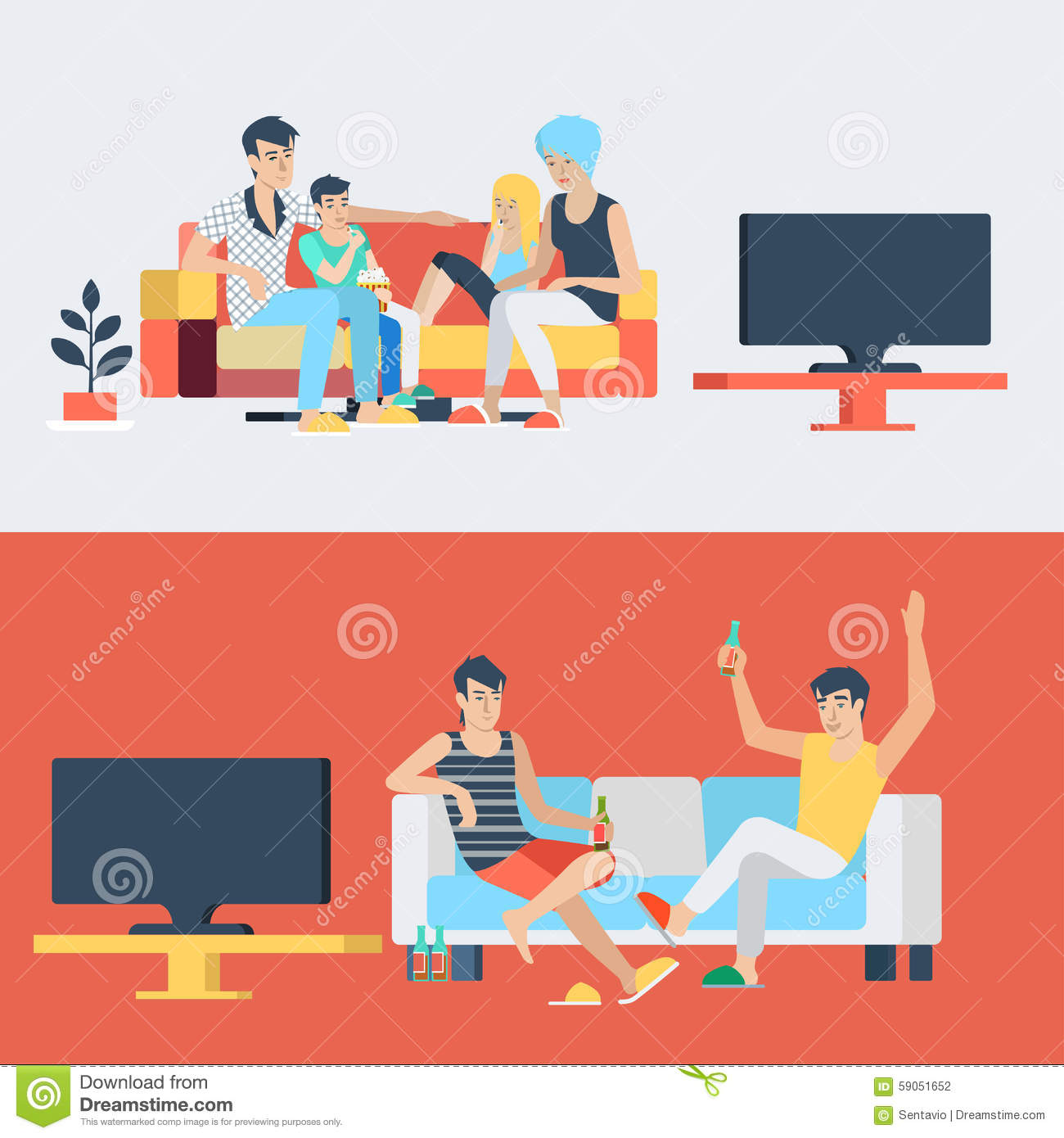 Flat Vector Family And Couple At Home Interior Watch TV
