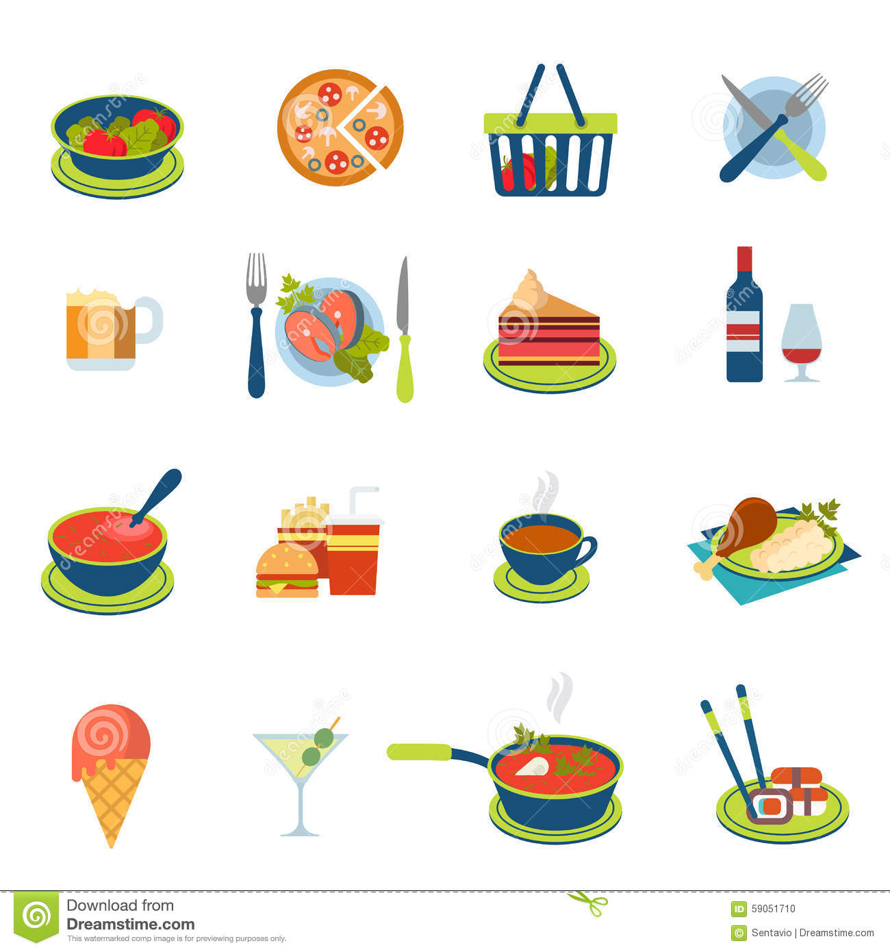 Flat vector food and drink infographic icon: restaurant menu