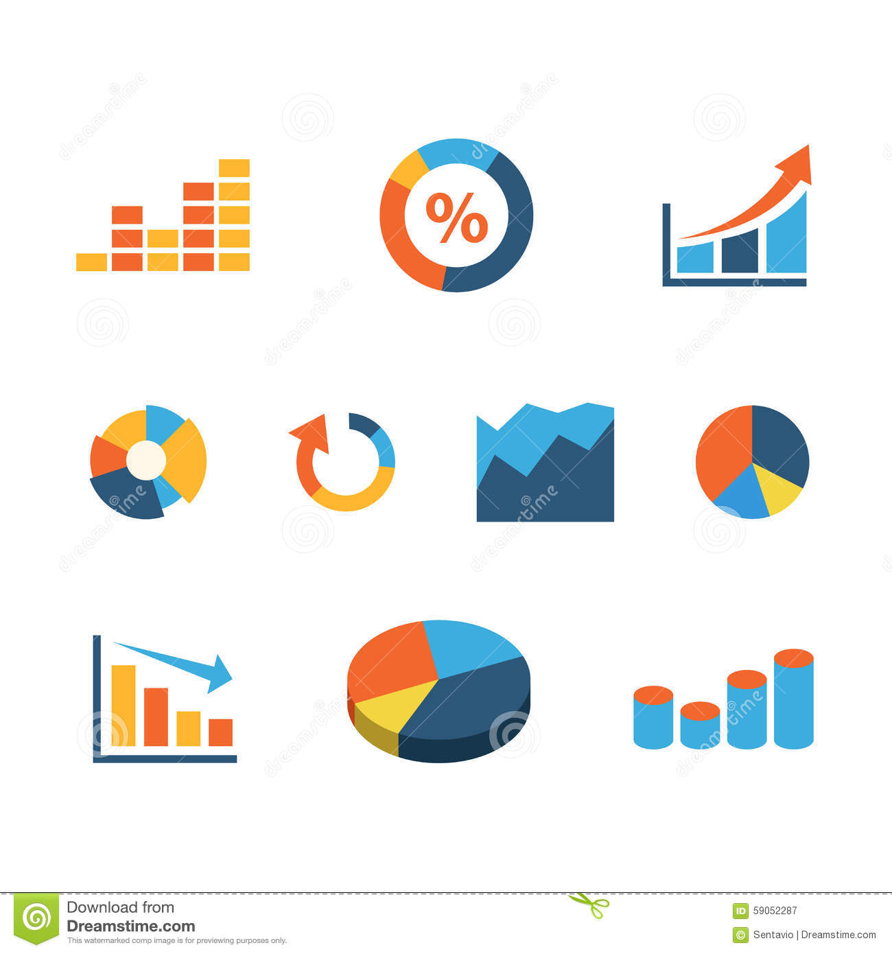Flat Vector Graphic Data Diagram Pie Chart Infographic Icon Stock