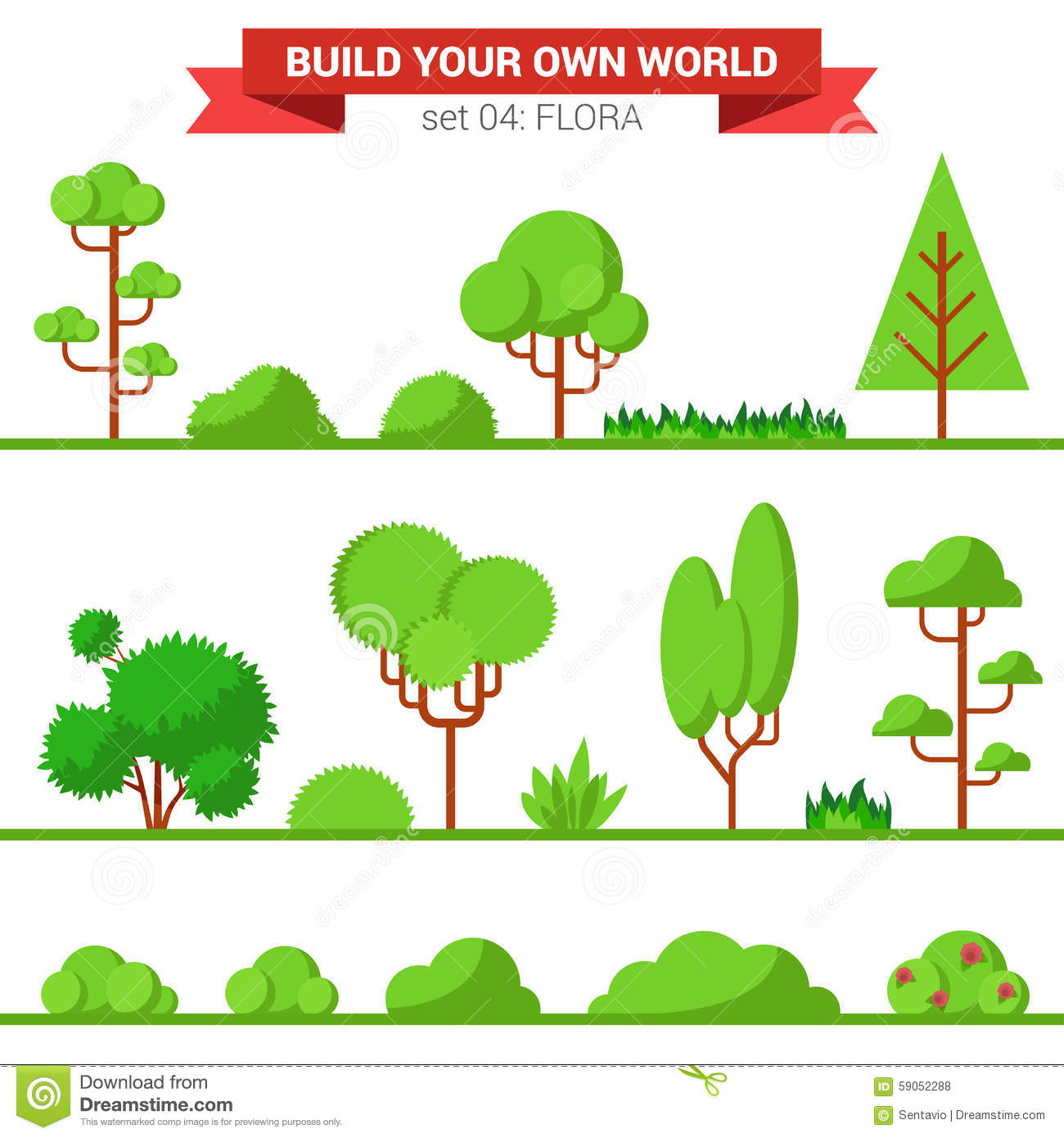 Flora plant green trees vector flat icon pine fir palm - Create your world ...