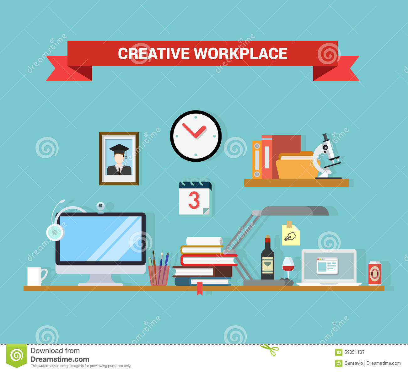 Flat vector home office workplace interior computer table Office designer online