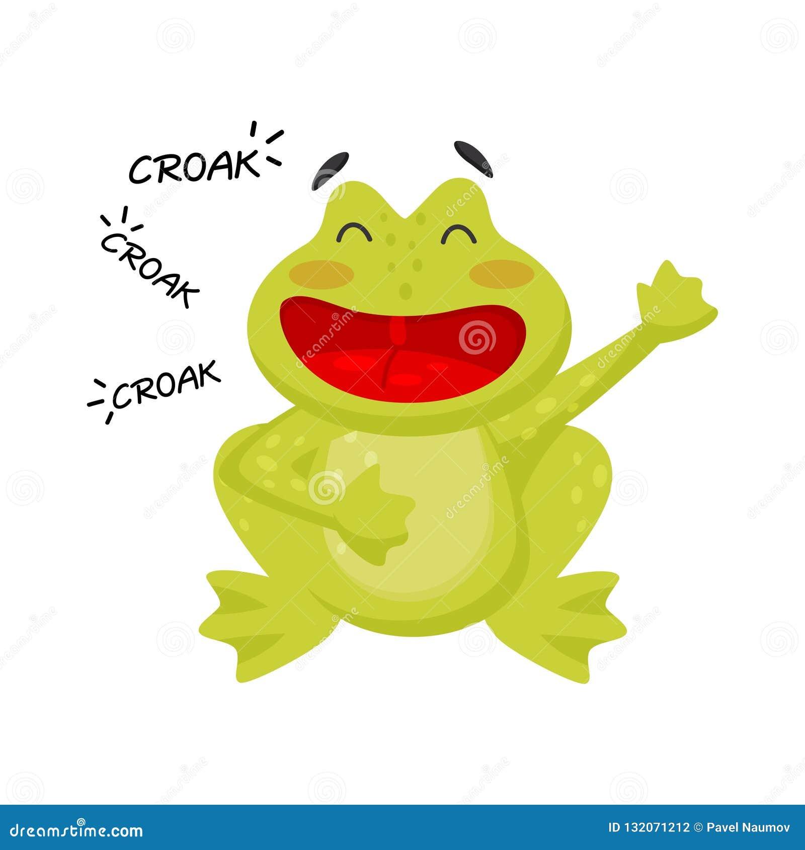 Flat vector icon of cheerful croaking frog. Funny green toad. Cartoon character of amphibian animal