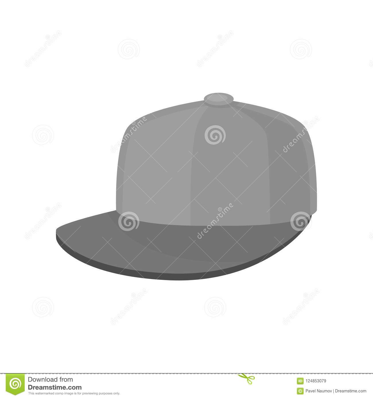 Flat vector icon of gray baseball cap. Hat with hard sun visor. Unisex  headwear 68a3a26cce2