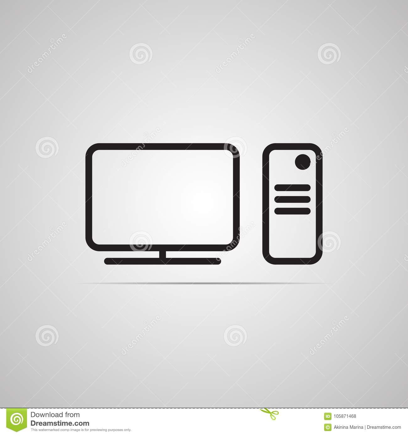 Flat vector icon monitor with remote controller.