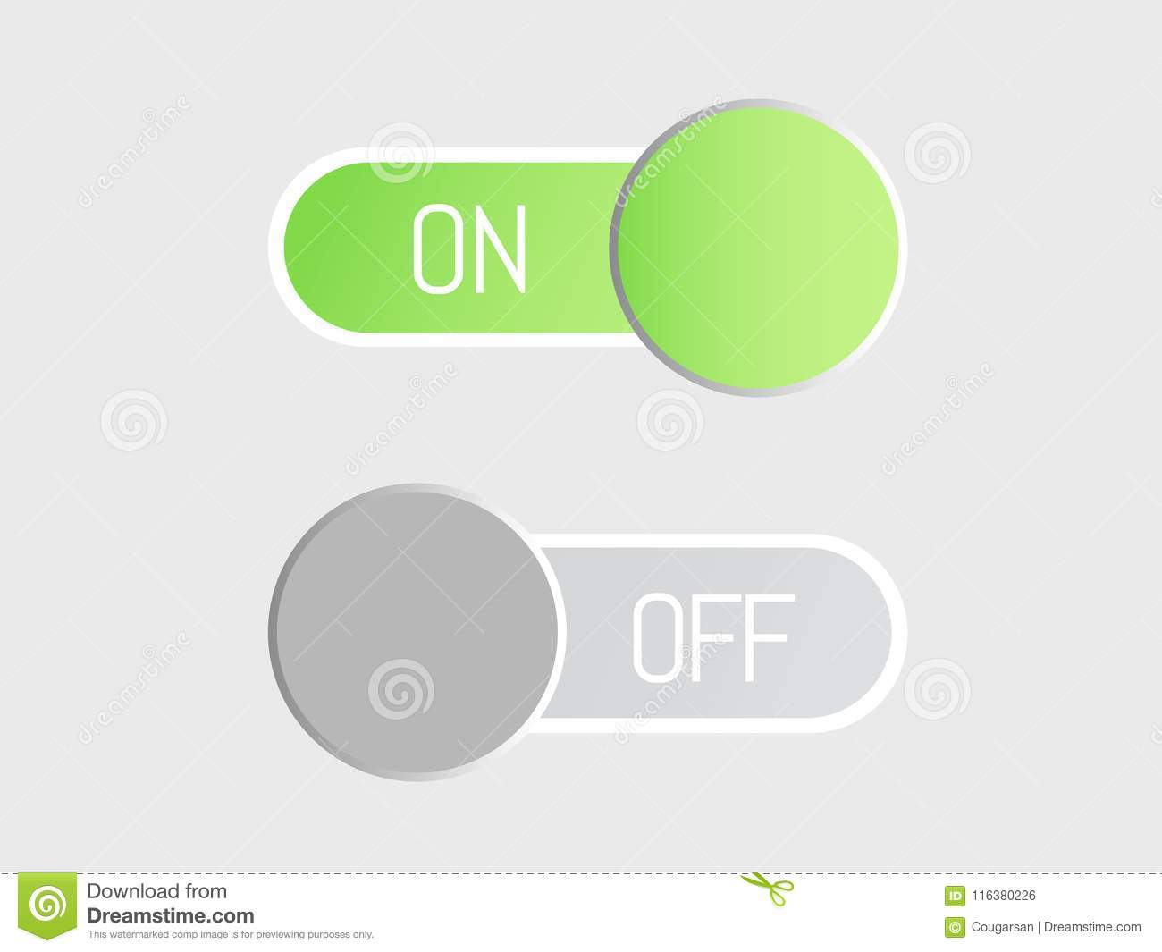 Flat Vector Icon On And Off Toggle Switch Button Stock Vector