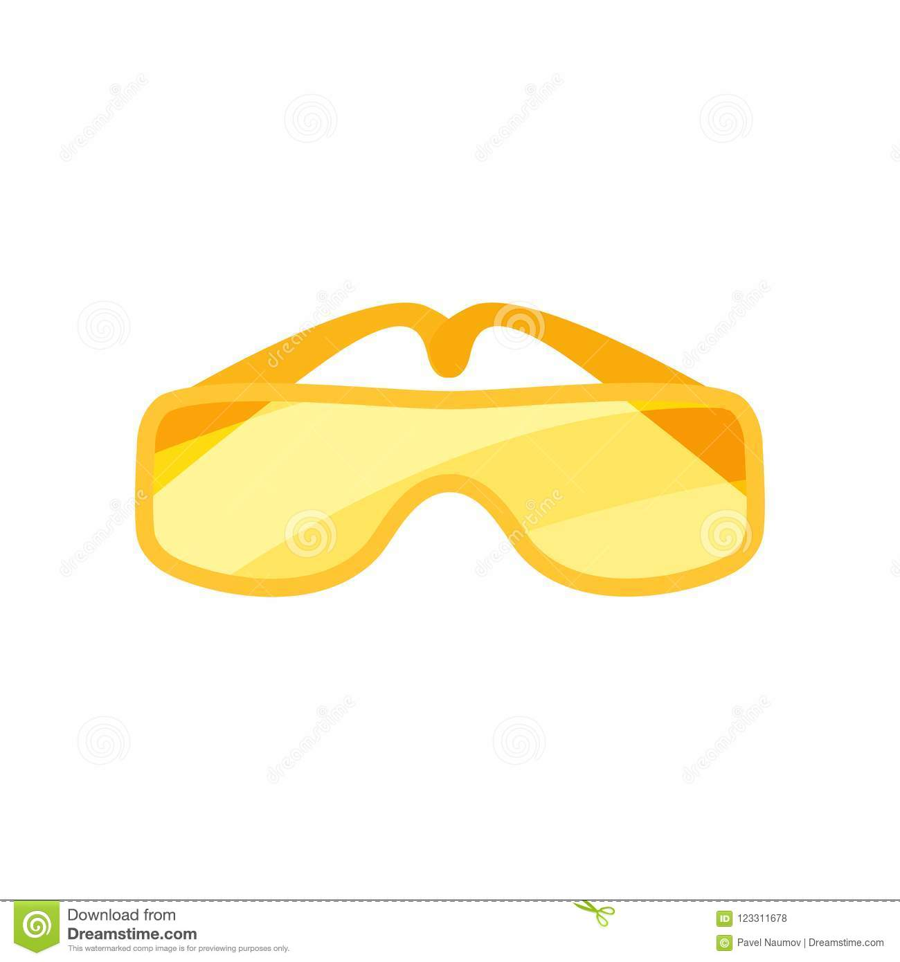 Flat vector icon of safety goggles. Glasses with orange lenses. Protective eyewear for workers. Industrial safety