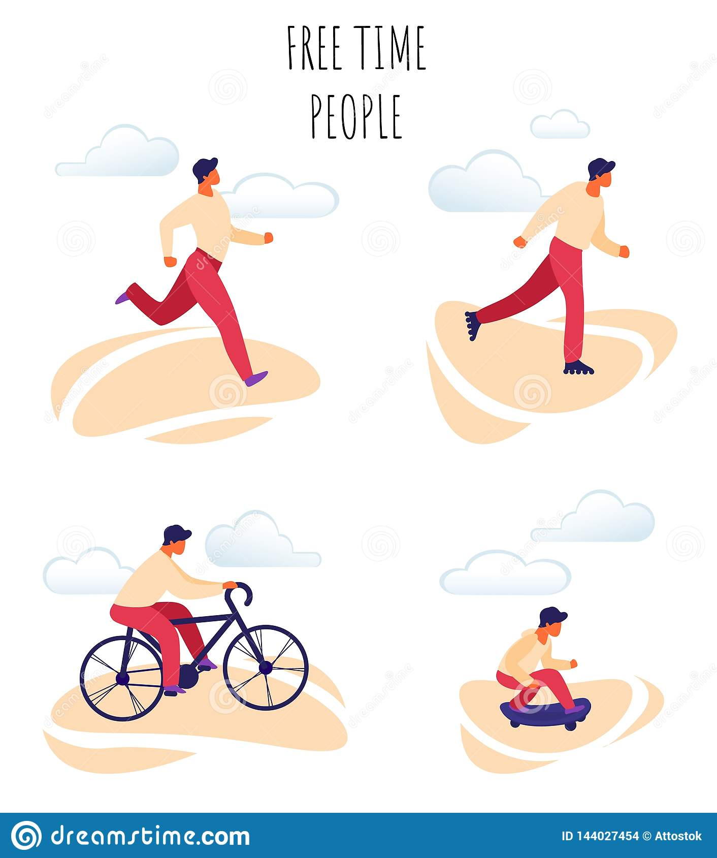 Flat Vector Illustration Free Time Happy People.