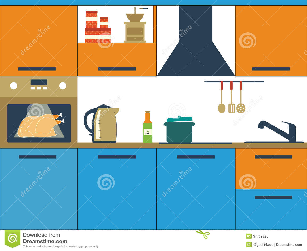 Flat vector illustration with kitchen royalty free stock for Kitchen design vector