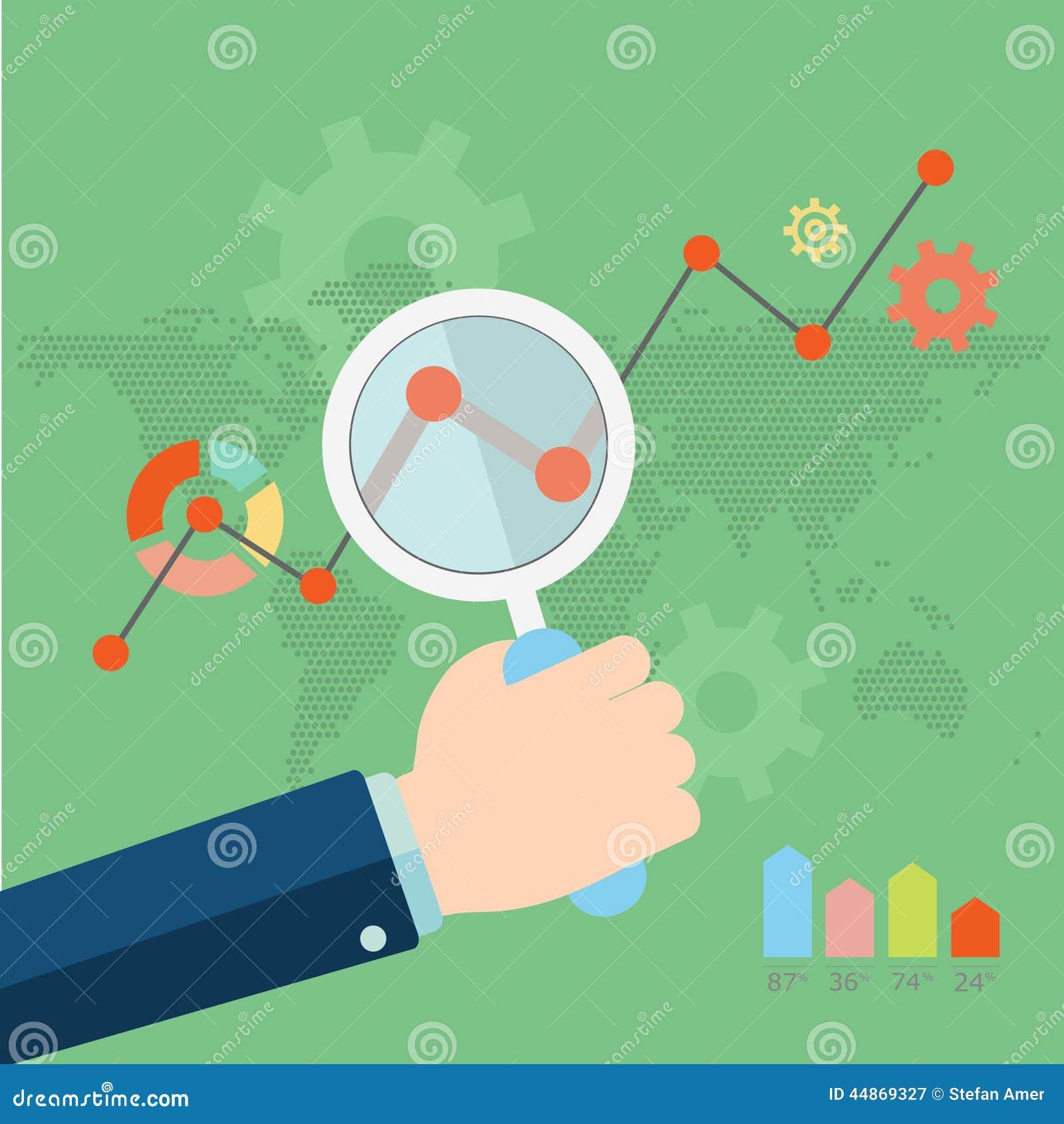 Flat vector illustration of web analytics