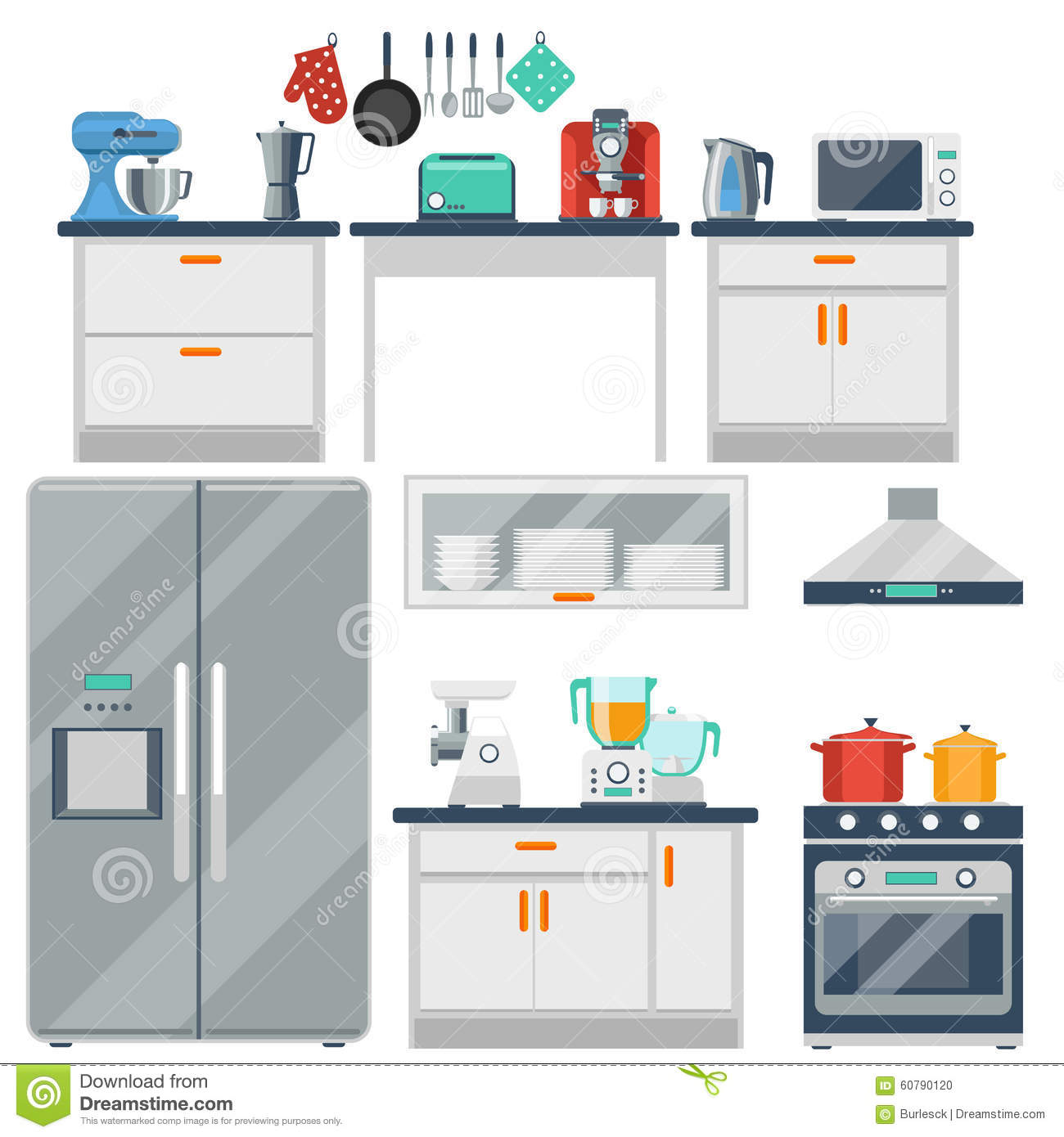 Flat Vector Kitchen With Cooking Tools, Equipment
