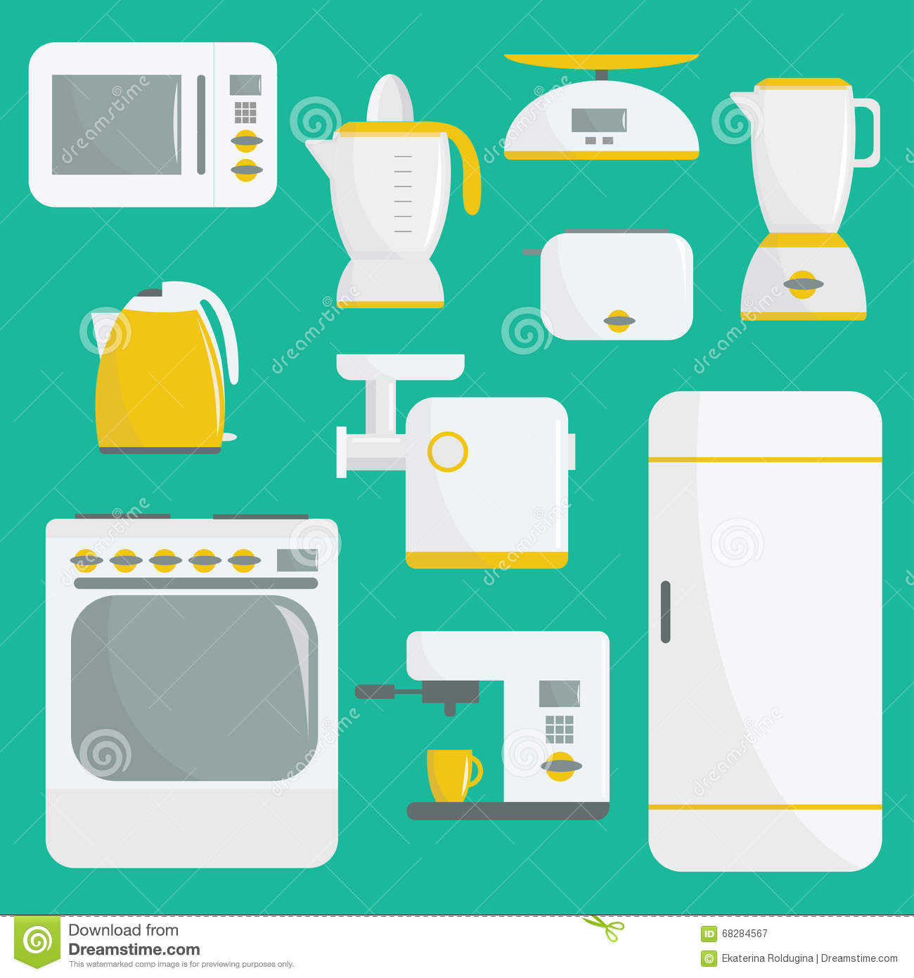 Flat Vector Kitchenware Illustration. Kitchen Appliances. Set Of ...