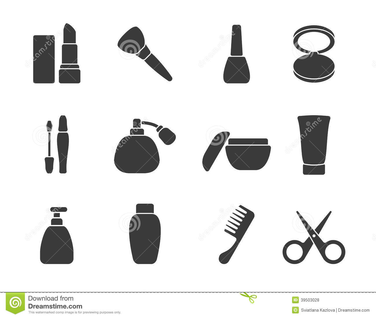 Flat Vector Make Up Amp Hair Accessory Icons Stock Vector
