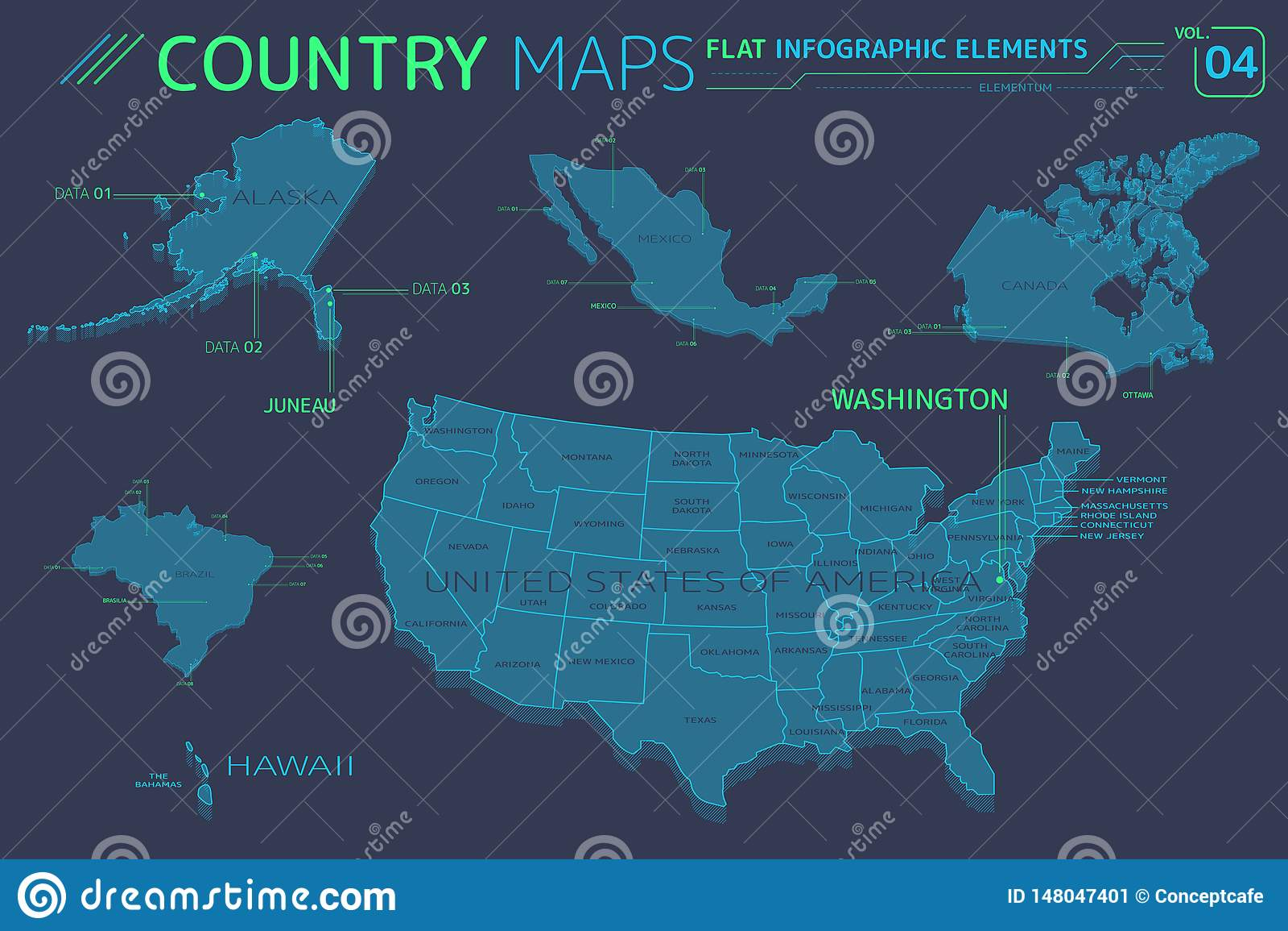 United States Of America, Alaska, Hawaii, Mexico, Canada And ...