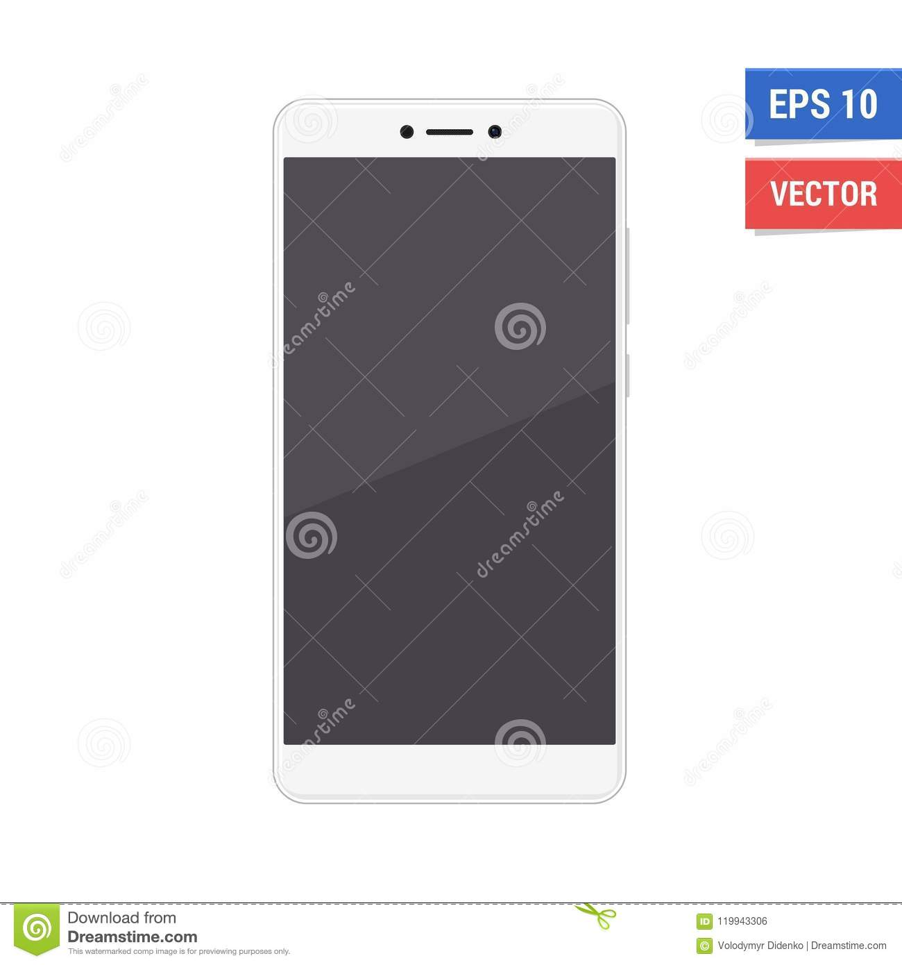 Realistic Vector Flat Mock-up Xiaomi Redmi Note 4 Isolated On White