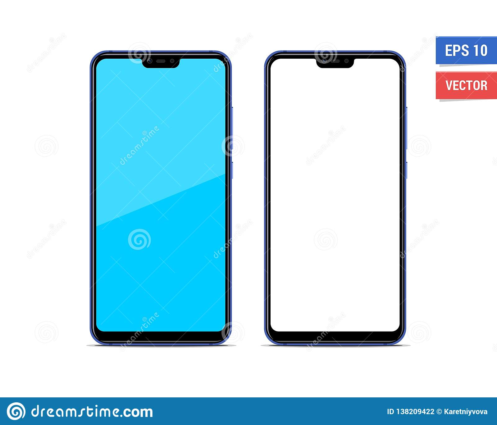 Realistic Vector Flat Mock-up Xiaomi Mi8 Lite Isolated On White