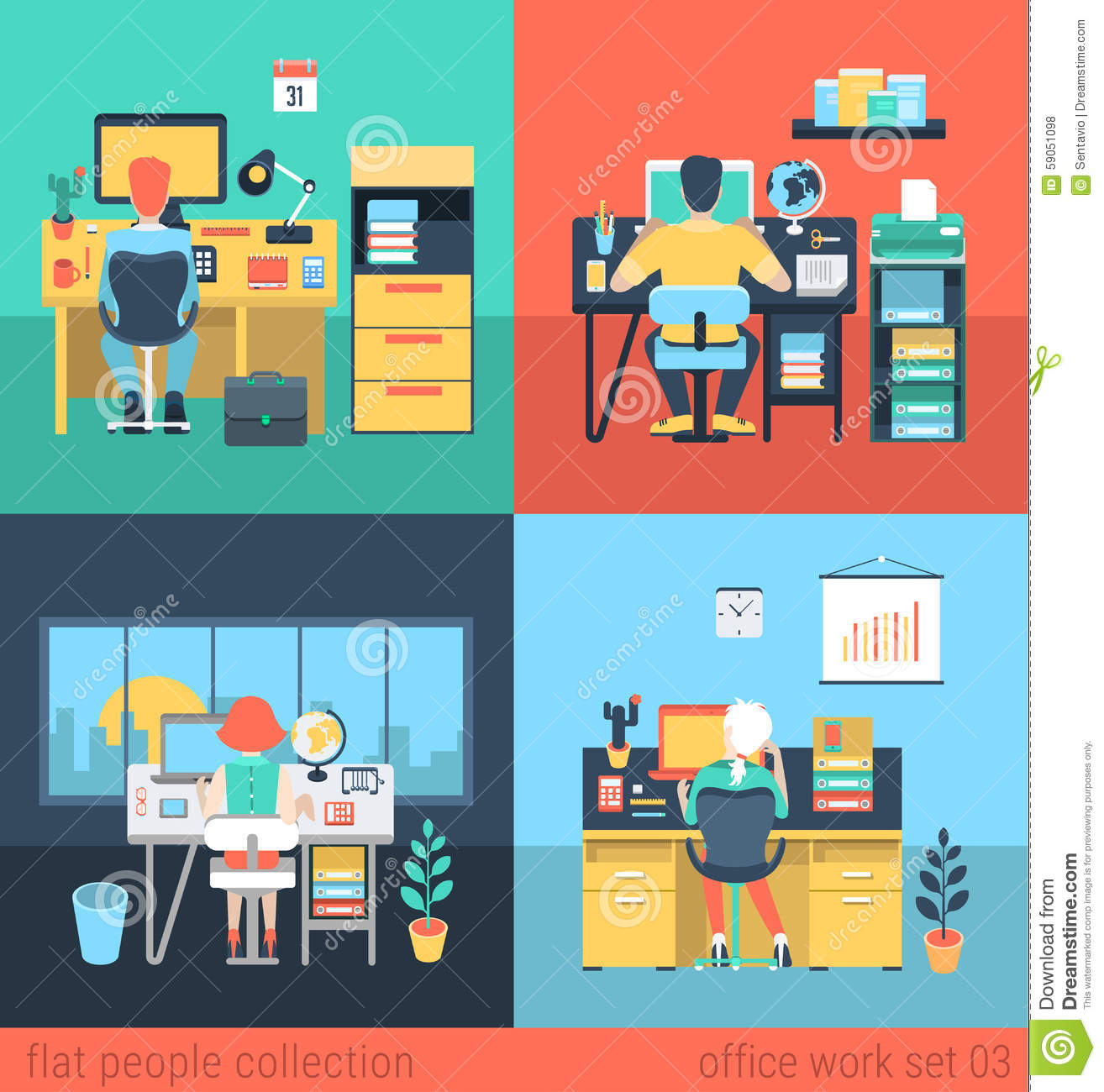 Flat Vector People Work At Home Or Office In Workplace
