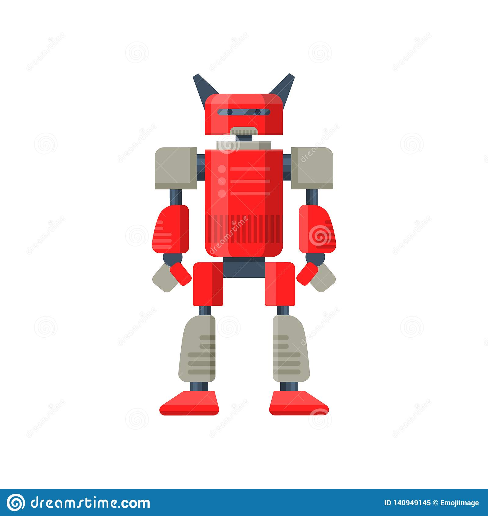 Flat vector of red robot transformer. Futuristic metal android. Steel warrior. Artificial intelligence