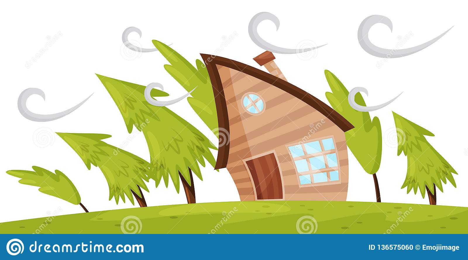 Flat vector scene with house and fir trees blowing away by strong wind. Powerful windstorm. Natural disaster