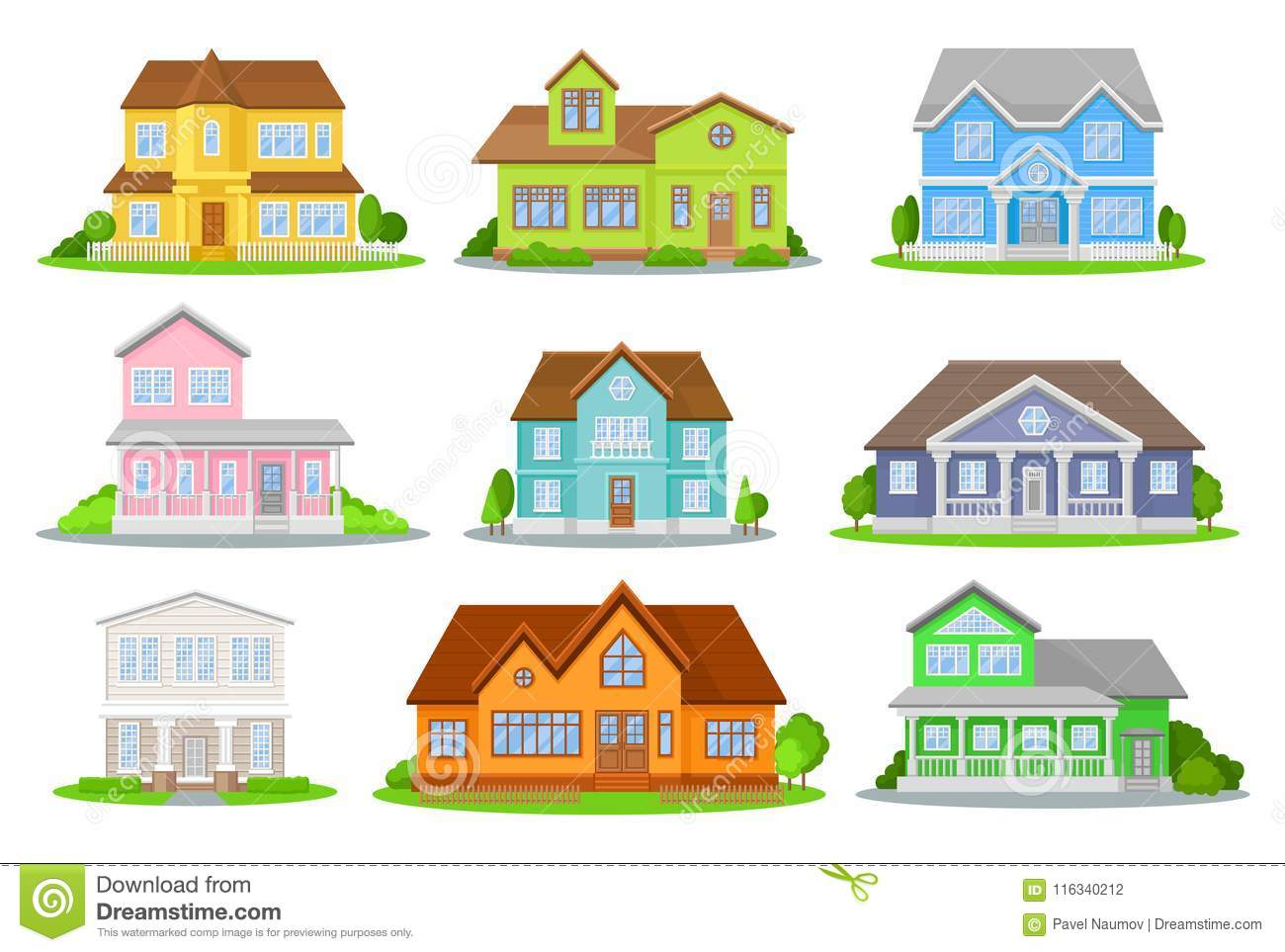 Flat vector set of colorful houses with green meadow, bushes and trees. Cozy residential cottages. Traditional